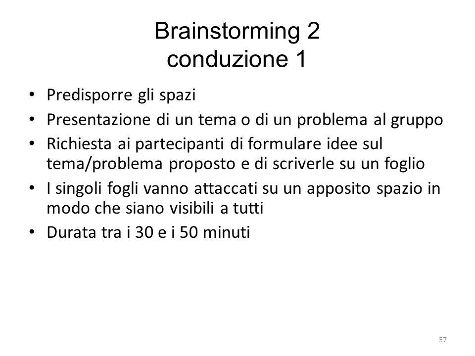 57 Brainstorming 2 conduzione 1 Predisporre gli spazi Presentazione di un tema o di un problema al gruppo Richiesta ai partecipanti di formulare idee