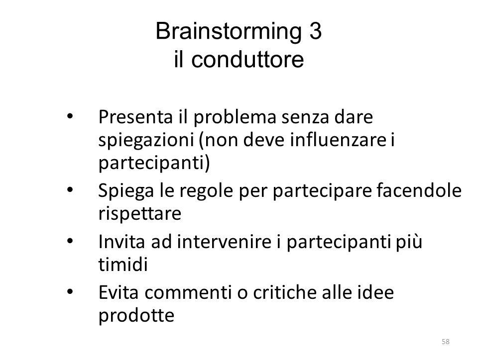 58 Brainstorming 3 il conduttore Presenta il problema senza dare spiegazioni (non deve influenzare i partecipanti) Spiega le regole per partecipare fa
