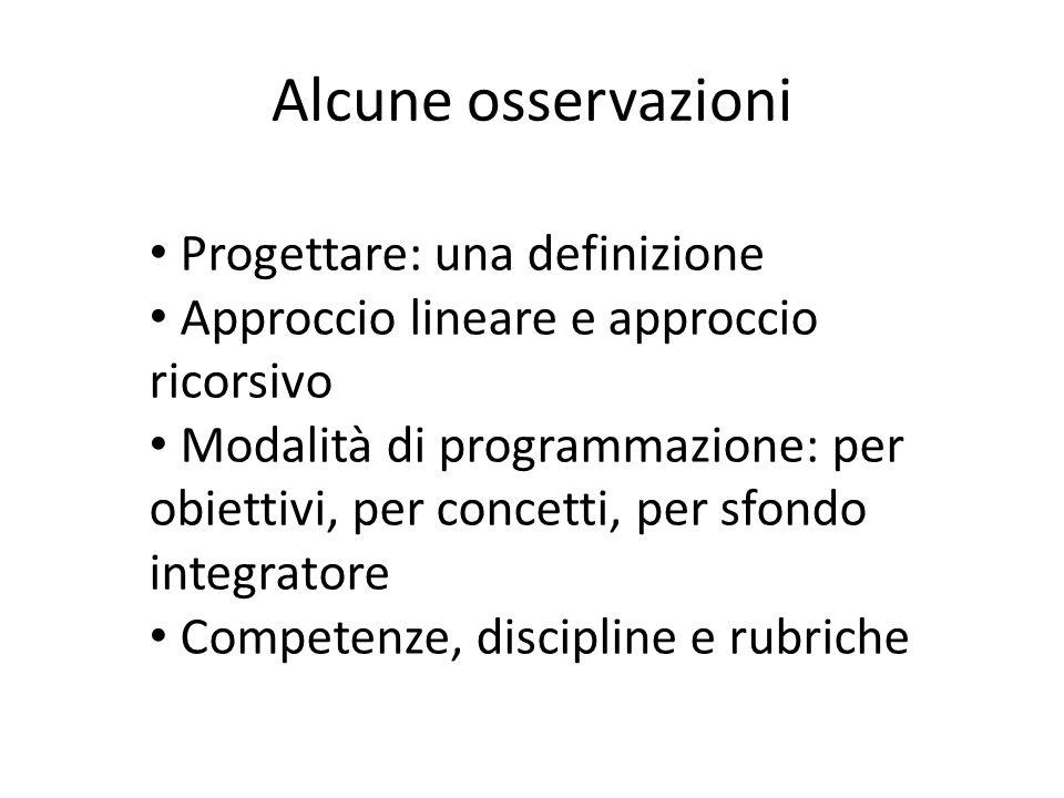 Alcune osservazioni Progettare: una definizione Approccio lineare e approccio ricorsivo Modalità di programmazione: per obiettivi, per concetti, per s