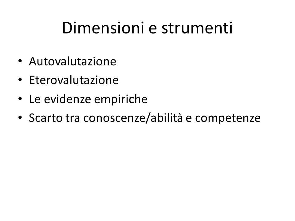 Dimensioni e strumenti Autovalutazione Eterovalutazione Le evidenze empiriche Scarto tra conoscenze/abilità e competenze