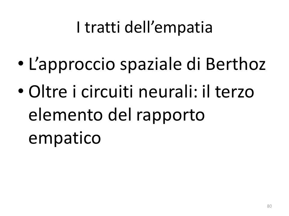 I tratti dell'empatia L'approccio spaziale di Berthoz Oltre i circuiti neurali: il terzo elemento del rapporto empatico 80