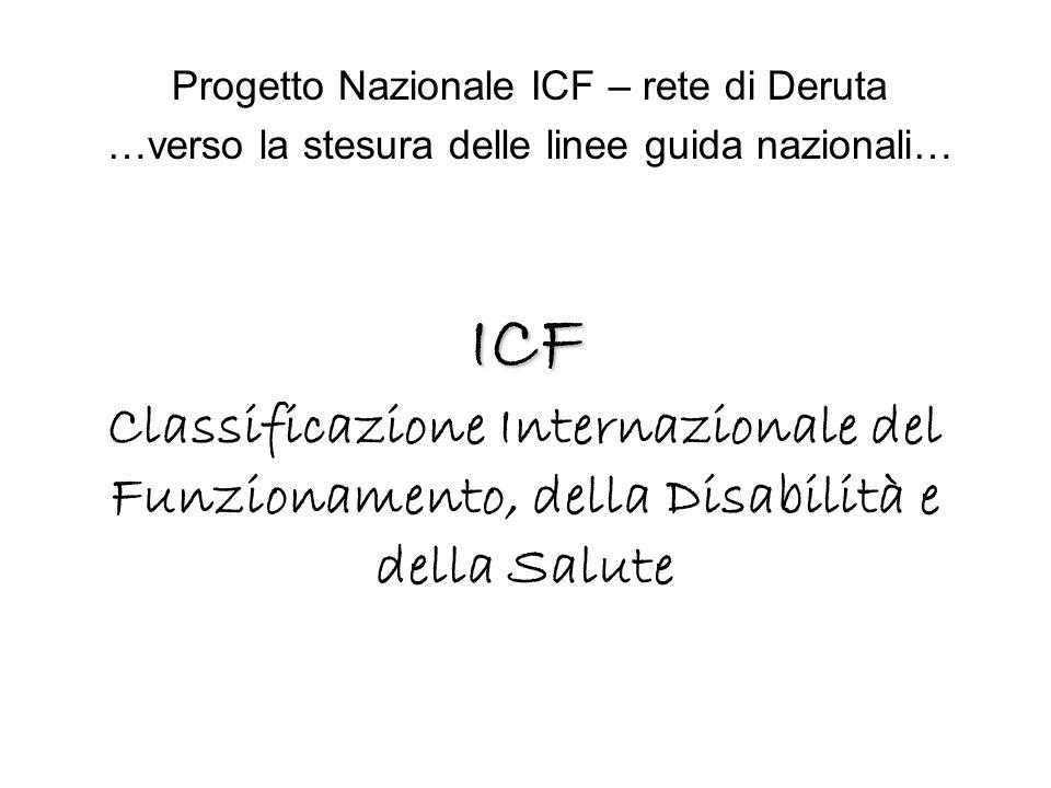 ICF ICF Classificazione Internazionale del Funzionamento, della Disabilità e della Salute Progetto Nazionale ICF – rete di Deruta …verso la stesura de
