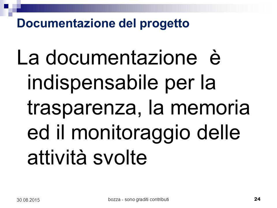 30.08.2015 Documentazione del progetto La documentazione è indispensabile per la trasparenza, la memoria ed il monitoraggio delle attività svolte bozz