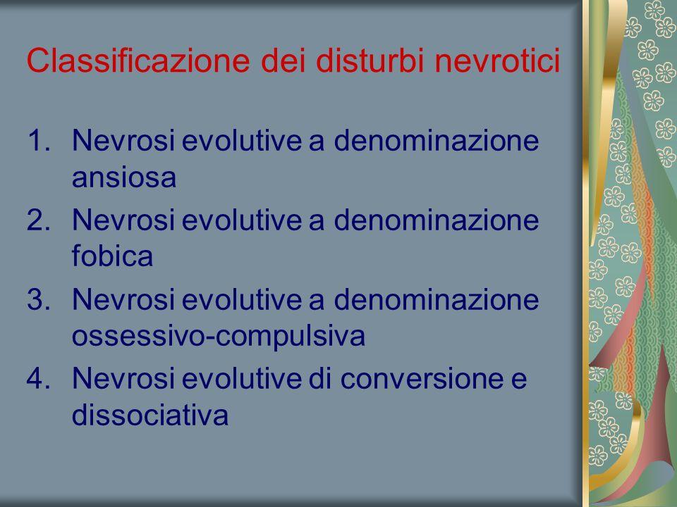 Classificazione dei disturbi nevrotici 1.Nevrosi evolutive a denominazione ansiosa 2.Nevrosi evolutive a denominazione fobica 3.Nevrosi evolutive a denominazione ossessivo-compulsiva 4.Nevrosi evolutive di conversione e dissociativa
