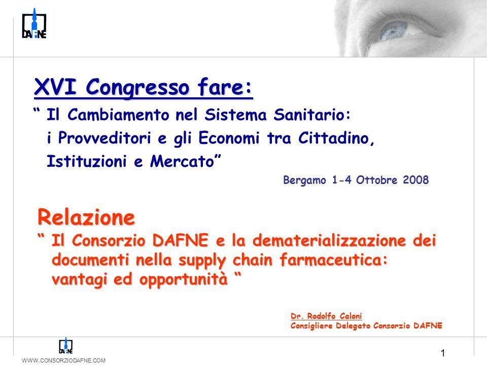 """WWW.CONSORZIODAFNE.COM 1 Dr. Rodolfo Caloni Consigliere Delegato Consorzio DAFNE Relazione """" Il Consorzio DAFNE e la dematerializzazione dei documenti"""