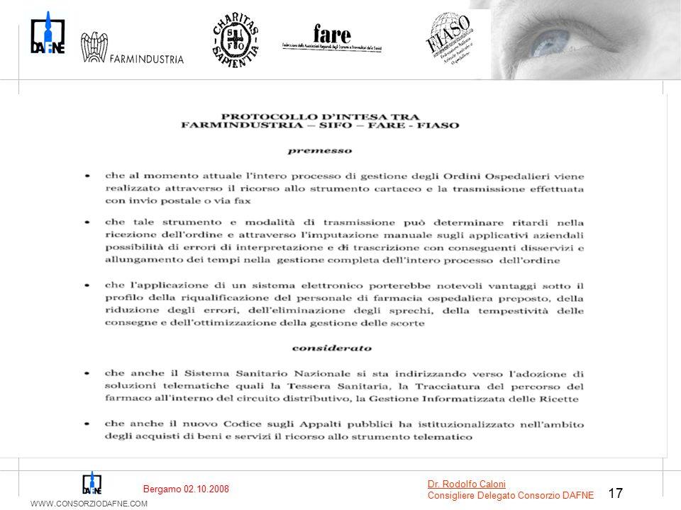 WWW.CONSORZIODAFNE.COM 17 Bergamo 02.10.2008 Dr. Rodolfo Caloni Consigliere Delegato Consorzio DAFNE