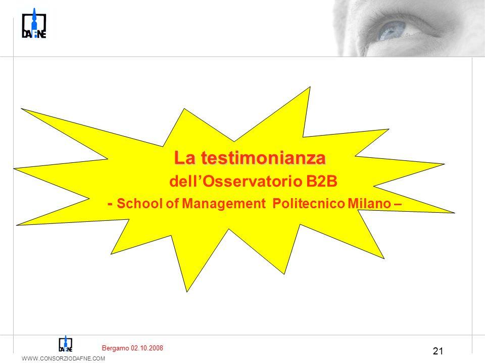 WWW.CONSORZIODAFNE.COM 21 La testimonianza dell'Osservatorio B2B - School of Management Politecnico Milano – Bergamo 02.10.2008