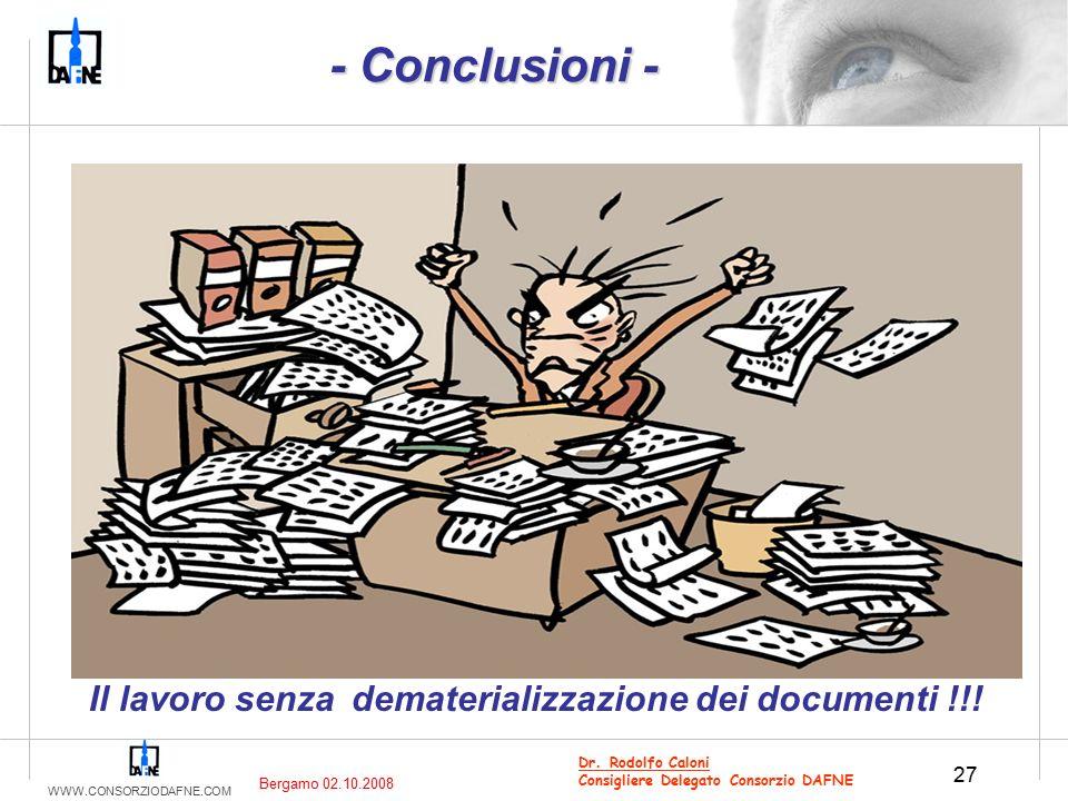 WWW.CONSORZIODAFNE.COM 27 Dr. Rodolfo Caloni Consigliere Delegato Consorzio DAFNE Il lavoro senza dematerializzazione dei documenti !!! Bergamo 02.10.