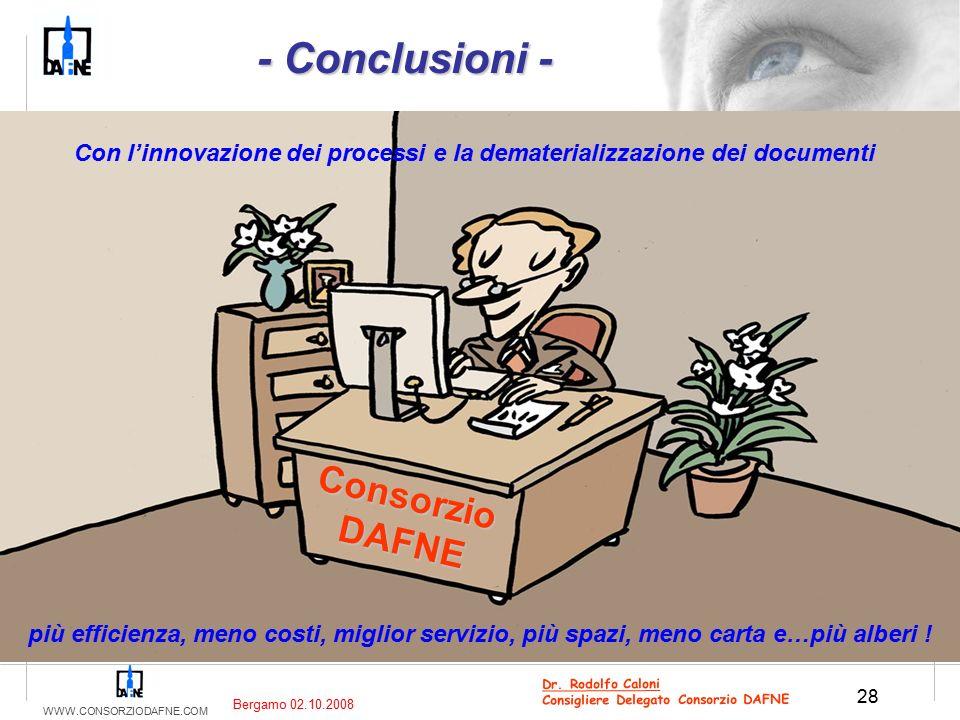 WWW.CONSORZIODAFNE.COM 28 Dr. Rodolfo Caloni Consigliere Delegato Consorzio DAFNE Bergamo 02.10.2008 più efficienza, meno costi, miglior servizio, più
