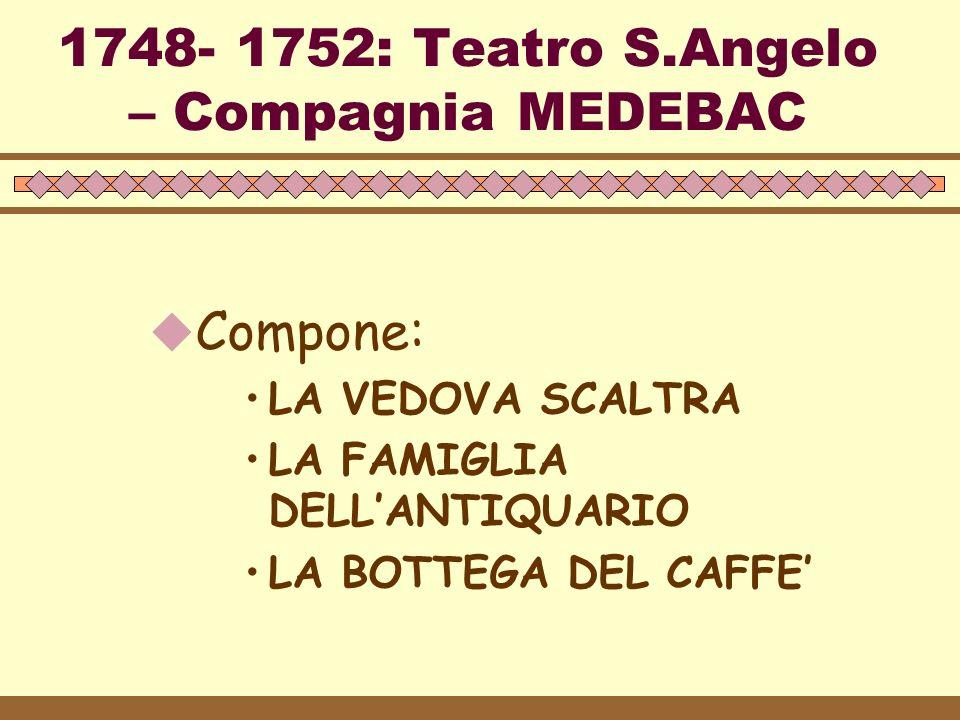 1753 – 1762: Teatro S.Luca – Compagnia Vendramin  Polemiche con Pietro Chiari e Carlo Gozzi –Compone: –LA LOCANDIERA –GLI INNAMORATI –I RUSTEGHI: abolizione dei servi – revisione del mito borghese