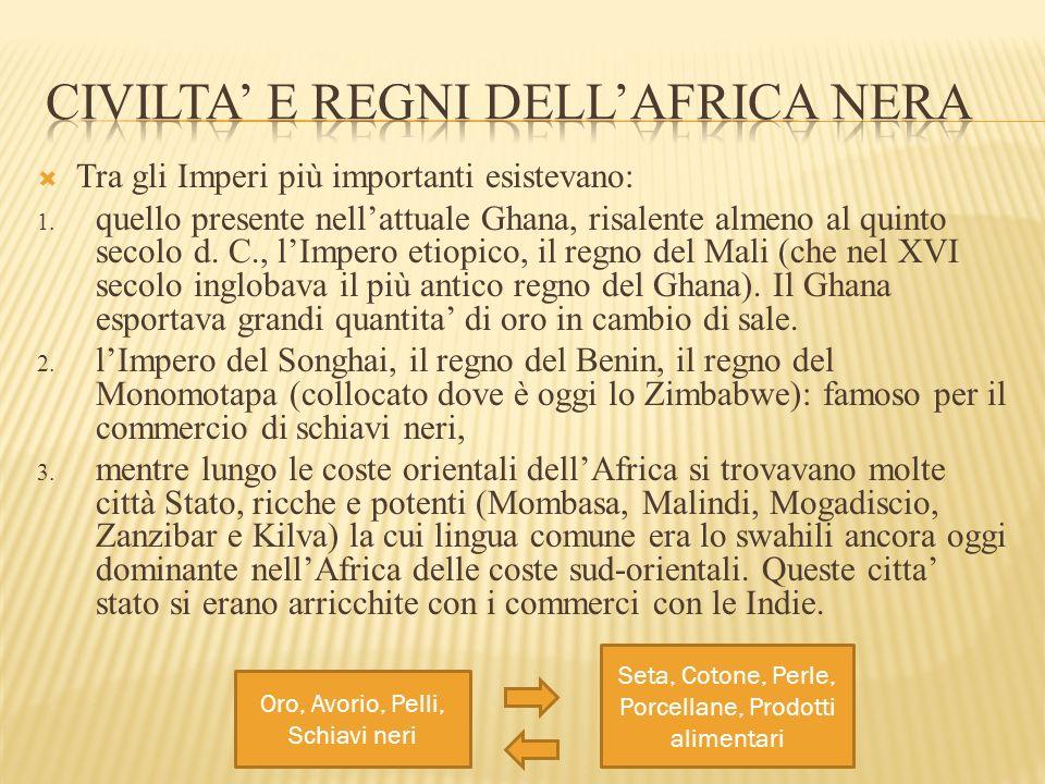  Tra gli Imperi più importanti esistevano: 1. quello presente nell'attuale Ghana, risalente almeno al quinto secolo d. C., l'Impero etiopico, il regn
