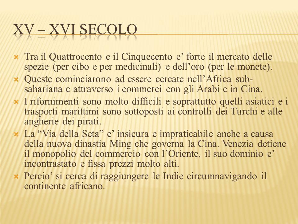  Tra il Quattrocento e il Cinquecento e' forte il mercato delle spezie (per cibo e per medicinali) e dell'oro (per le monete).
