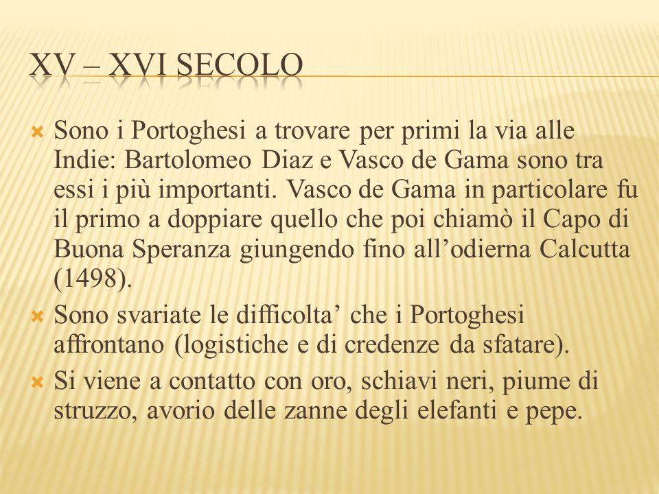  Sono i Portoghesi a trovare per primi la via alle Indie: Bartolomeo Diaz e Vasco de Gama sono tra essi i più importanti. Vasco de Gama in particolar