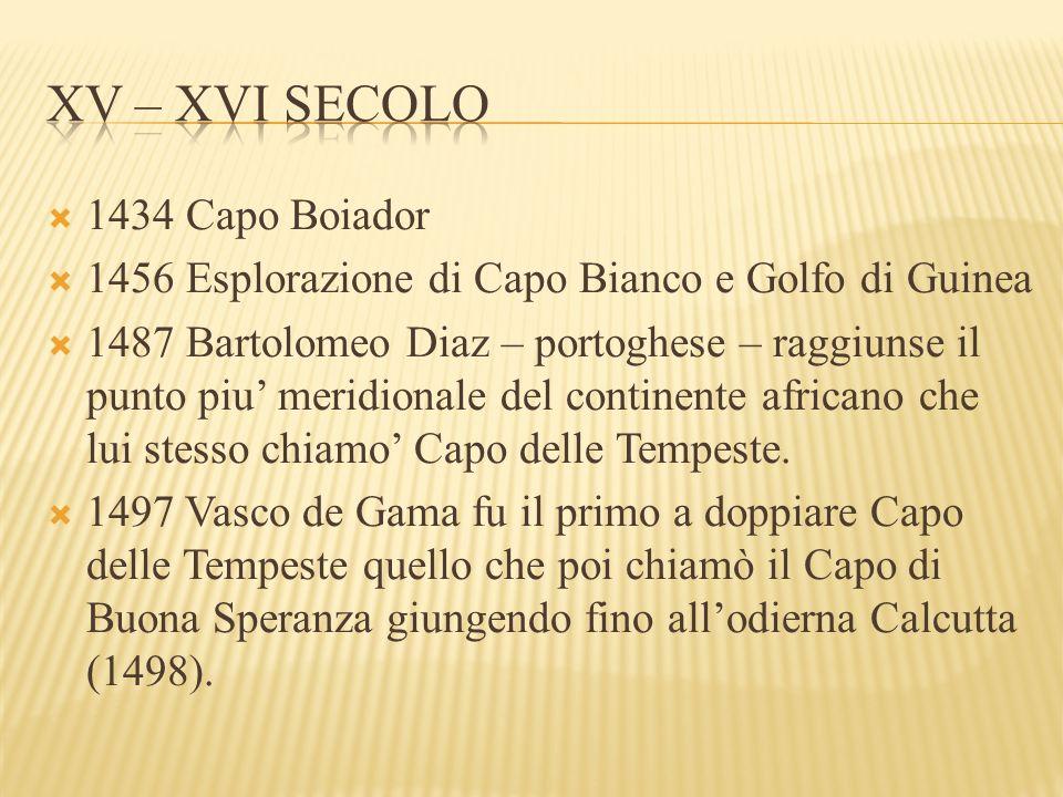  1434 Capo Boiador  1456 Esplorazione di Capo Bianco e Golfo di Guinea  1487 Bartolomeo Diaz – portoghese – raggiunse il punto piu' meridionale del