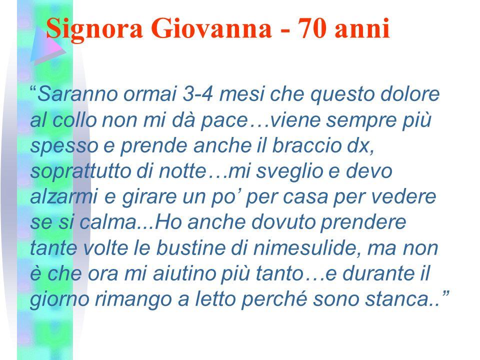 """Signora Giovanna - 70 anni """"Saranno ormai 3-4 mesi che questo dolore al collo non mi dà pace…viene sempre più spesso e prende anche il braccio dx, sop"""