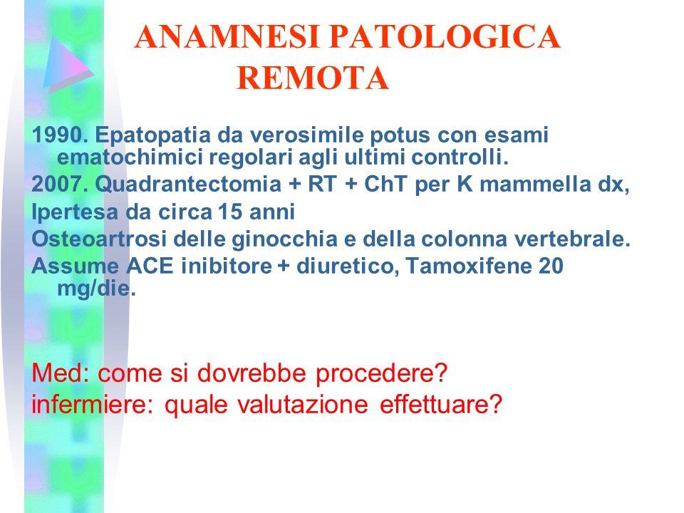 ANAMNESI PATOLOGICA REMOTA 1990. Epatopatia da verosimile potus con esami ematochimici regolari agli ultimi controlli. 2007. Quadrantectomia + RT + Ch