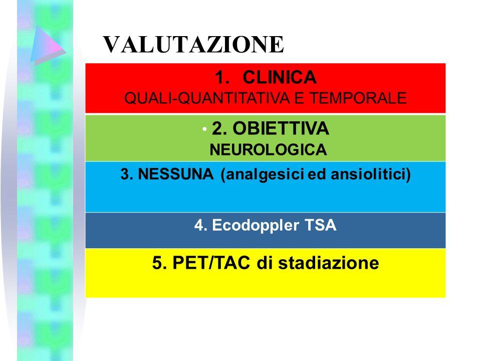 VALUTAZIONE 1.CLINICA QUALI-QUANTITATIVA E TEMPORALE 2. OBIETTIVA NEUROLOGICA 3. NESSUNA (analgesici ed ansiolitici) 4. Ecodoppler TSA 5. PET/TAC di s