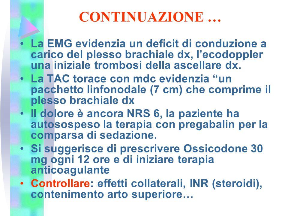 CONTINUAZIONE … La EMG evidenzia un deficit di conduzione a carico del plesso brachiale dx, l'ecodoppler una iniziale trombosi della ascellare dx. La