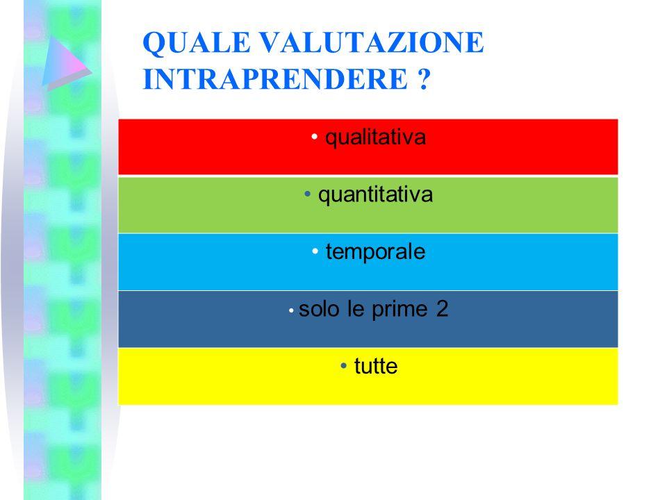 QUALE VALUTAZIONE INTRAPRENDERE ? qualitativa quantitativa temporale solo le prime 2 tutte