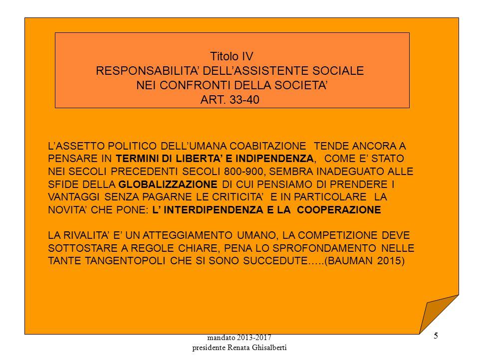 mandato 2013-2017 presidente Renata Ghisalberti 5 Titolo IV RESPONSABILITA' DELL'ASSISTENTE SOCIALE NEI CONFRONTI DELLA SOCIETA' ART.