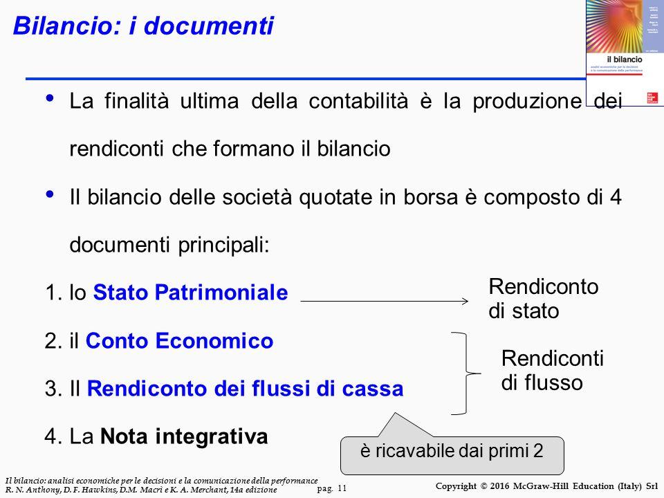 pag. 11 Il bilancio: analisi economiche per le decisioni e la comunicazione della performance R. N. Anthony, D. F. Hawkins, D.M. Macrì e K. A. Merchan