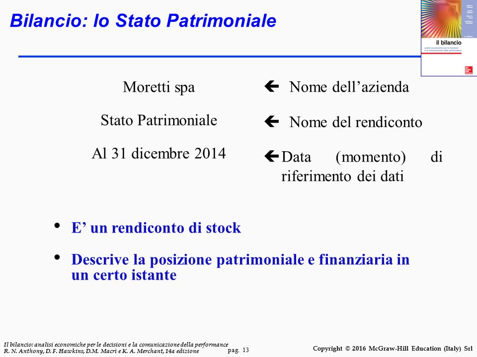 pag. 13 Il bilancio: analisi economiche per le decisioni e la comunicazione della performance R. N. Anthony, D. F. Hawkins, D.M. Macrì e K. A. Merchan