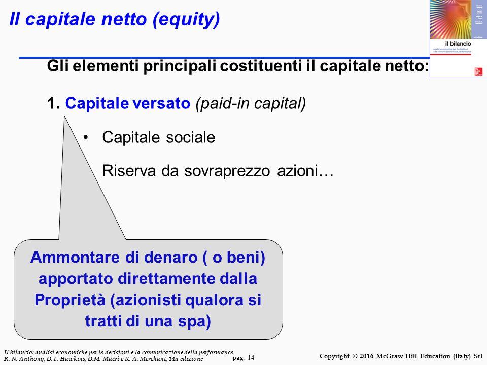 pag. 14 Il bilancio: analisi economiche per le decisioni e la comunicazione della performance R. N. Anthony, D. F. Hawkins, D.M. Macrì e K. A. Merchan