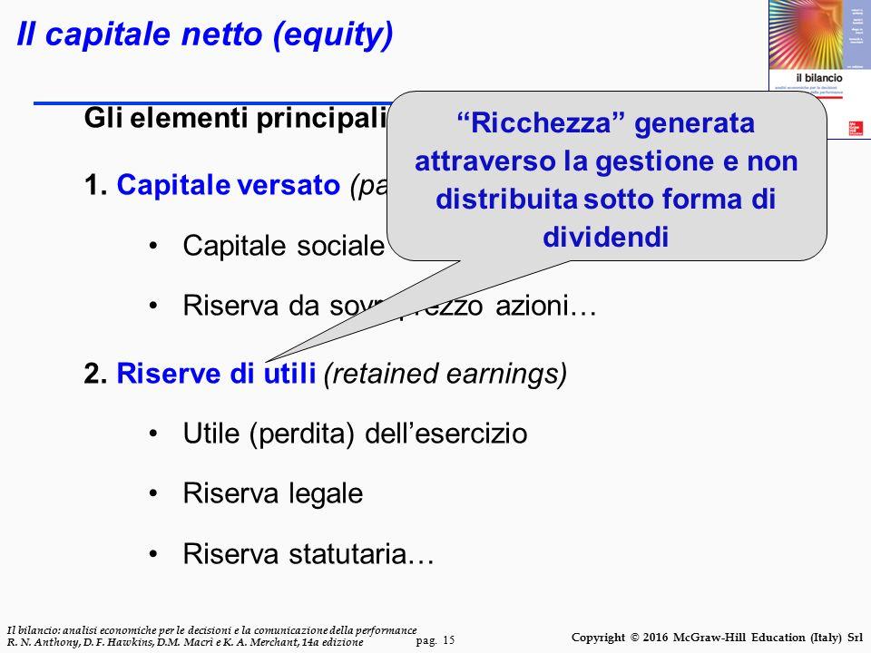 pag. 15 Il bilancio: analisi economiche per le decisioni e la comunicazione della performance R. N. Anthony, D. F. Hawkins, D.M. Macrì e K. A. Merchan