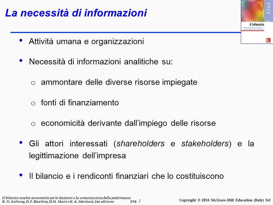 pag. 2 Il bilancio: analisi economiche per le decisioni e la comunicazione della performance R. N. Anthony, D. F. Hawkins, D.M. Macrì e K. A. Merchant