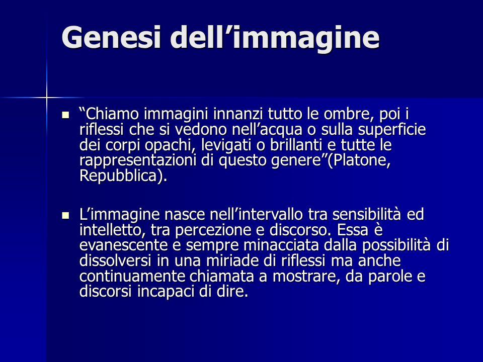 """Genesi dell'immagine """"Chiamo immagini innanzi tutto le ombre, poi i riflessi che si vedono nell'acqua o sulla superficie dei corpi opachi, levigati o"""
