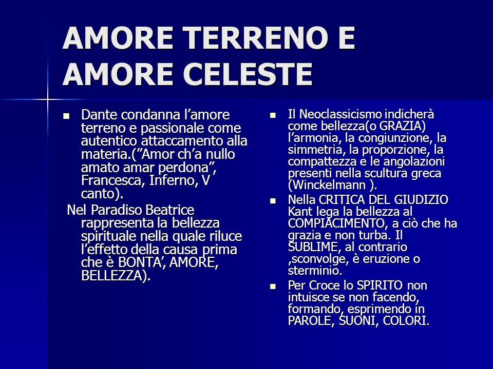 """AMORE TERRENO E AMORE CELESTE Dante condanna l'amore terreno e passionale come autentico attaccamento alla materia.(""""Amor ch'a nullo amato amar perdon"""