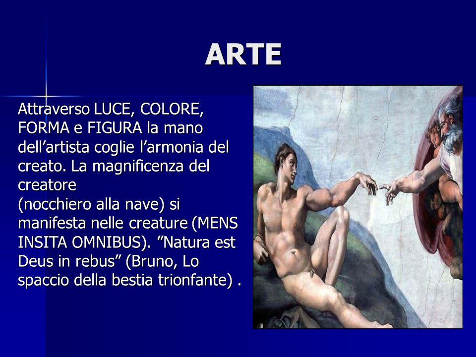 ARTE ARTE Attraverso LUCE, COLORE, FORMA e FIGURA la mano dell'artista coglie l'armonia del creato. La magnificenza del creatore (nocchiero alla nave)