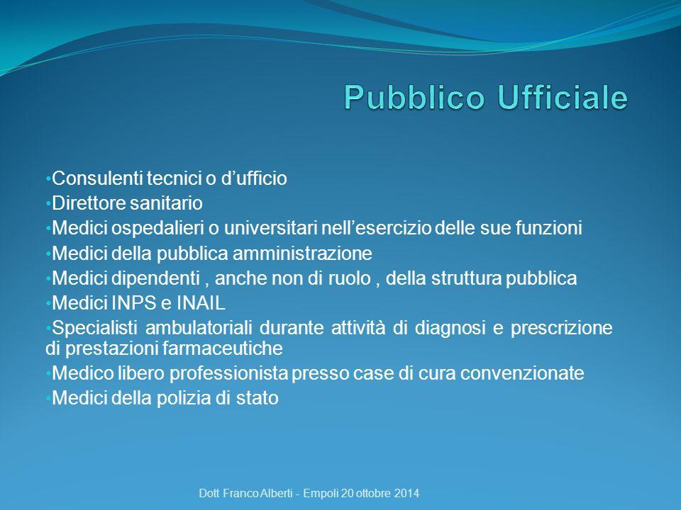 Consulenti tecnici o d'ufficio Direttore sanitario Medici ospedalieri o universitari nell'esercizio delle sue funzioni Medici della pubblica amministr