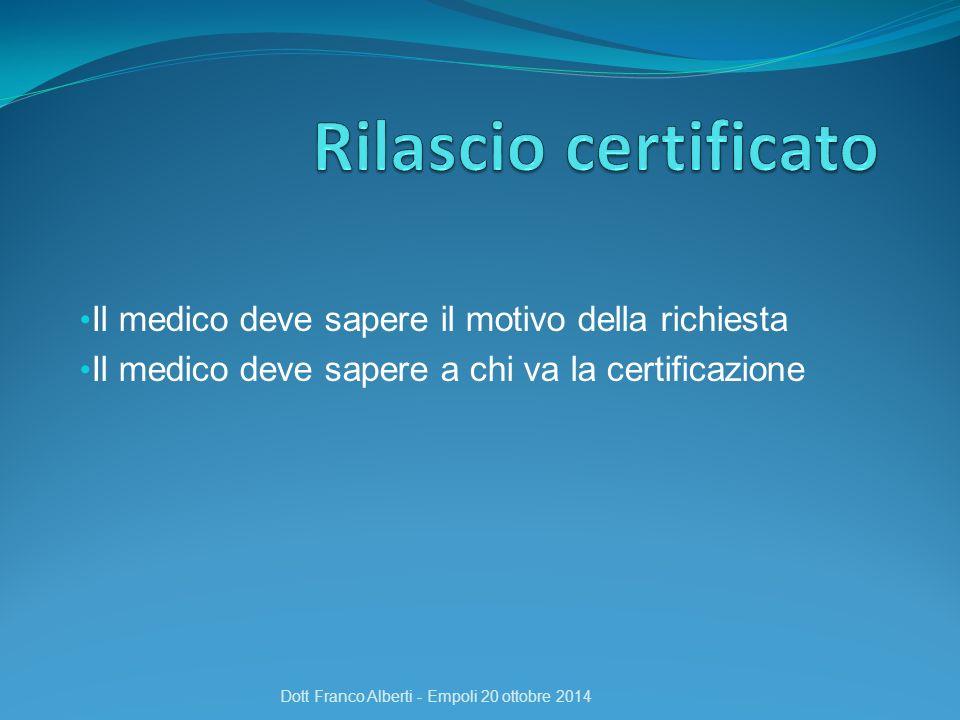 Il medico deve sapere il motivo della richiesta Il medico deve sapere a chi va la certificazione Dott Franco Alberti - Empoli 20 ottobre 2014