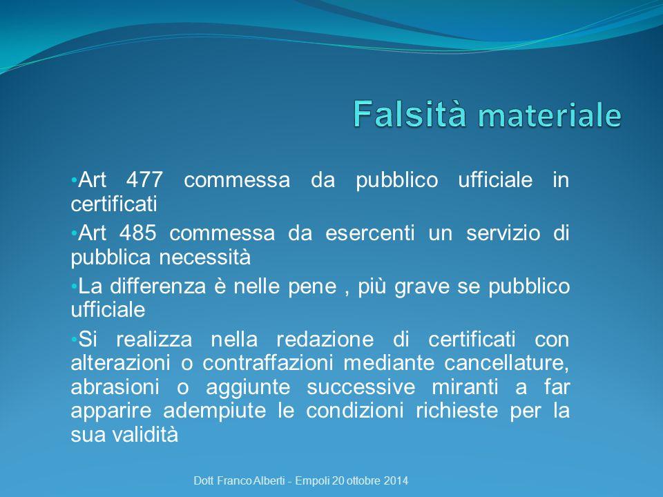 Art 477 commessa da pubblico ufficiale in certificati Art 485 commessa da esercenti un servizio di pubblica necessità La differenza è nelle pene, più