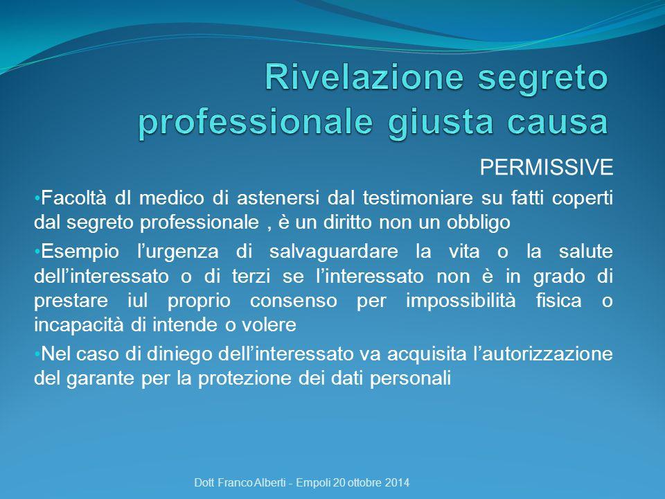 PERMISSIVE Facoltà dl medico di astenersi dal testimoniare su fatti coperti dal segreto professionale, è un diritto non un obbligo Esempio l'urgenza d