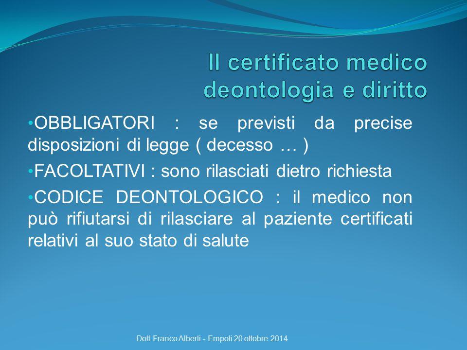 OBBLIGATORI : se previsti da precise disposizioni di legge ( decesso … ) FACOLTATIVI : sono rilasciati dietro richiesta CODICE DEONTOLOGICO : il medic