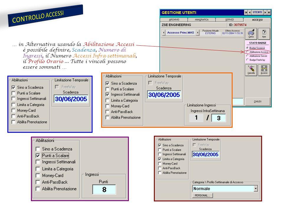 … in Alternativa usando la Abilitazione Accessi è possibile definire, Scadenza, Numero di Ingressi, il Numero Accessi Infra-settimanali, il Profilo Orario...