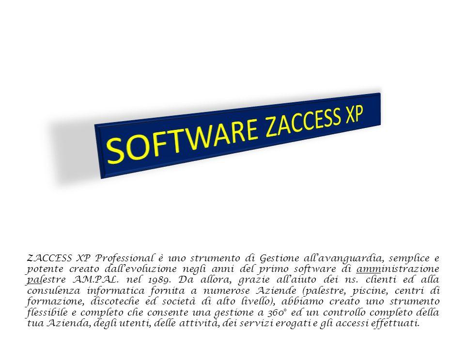 ZACCESS XP Professional è uno strumento di Gestione all'avanguardia, semplice e potente creato dall'evoluzione negli anni del primo software di amministrazione palestre AM.PAL.