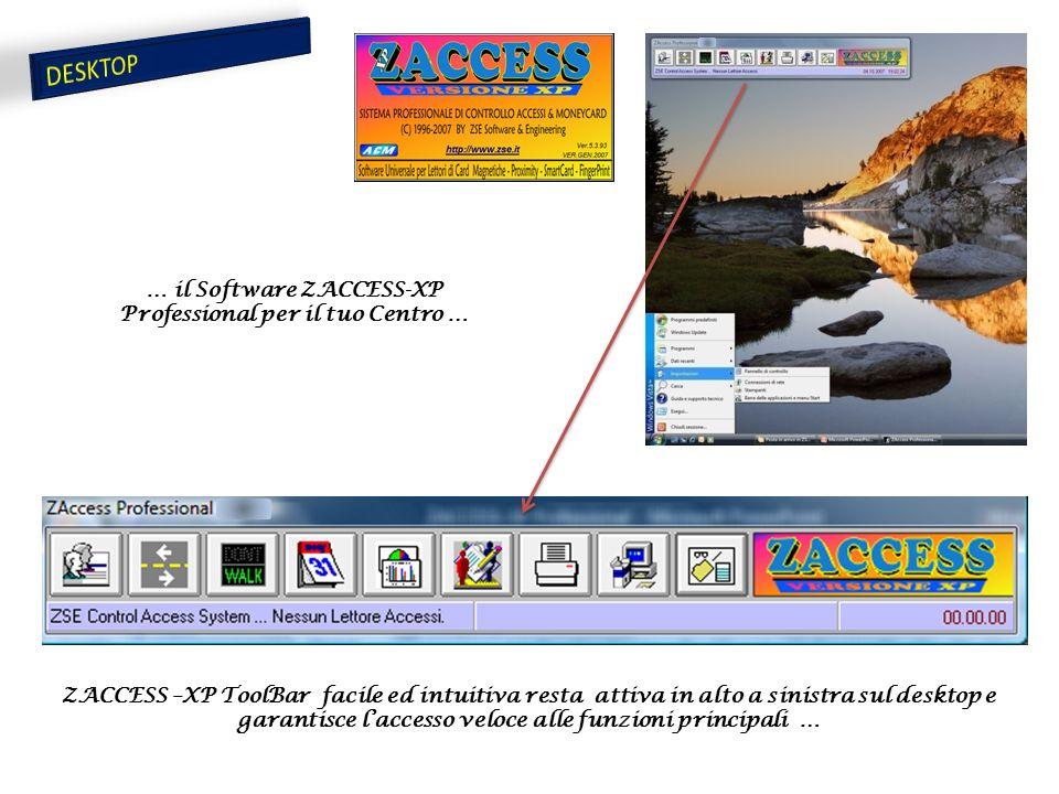 ZACCESS –XP ToolBar facile ed intuitiva resta attiva in alto a sinistra sul desktop e garantisce l'accesso veloce alle funzioni principali … … il Software ZACCESS-XP Professional per il tuo Centro …