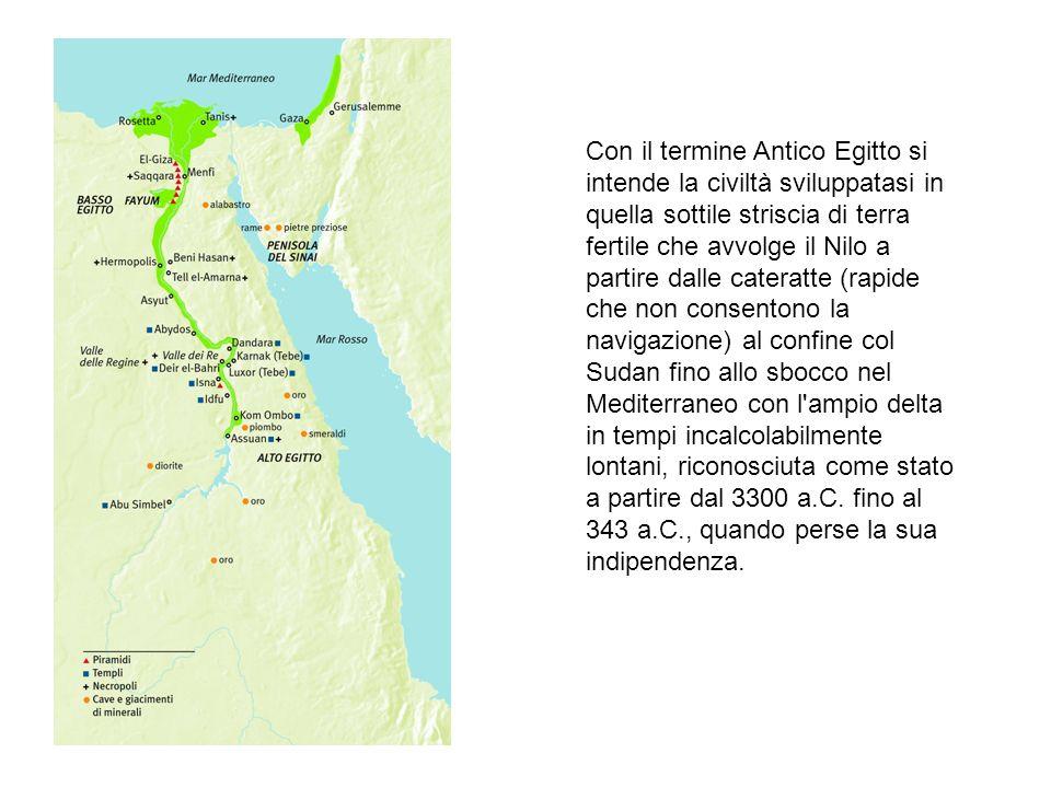 Con il termine Antico Egitto si intende la civiltà sviluppatasi in quella sottile striscia di terra fertile che avvolge il Nilo a partire dalle catera