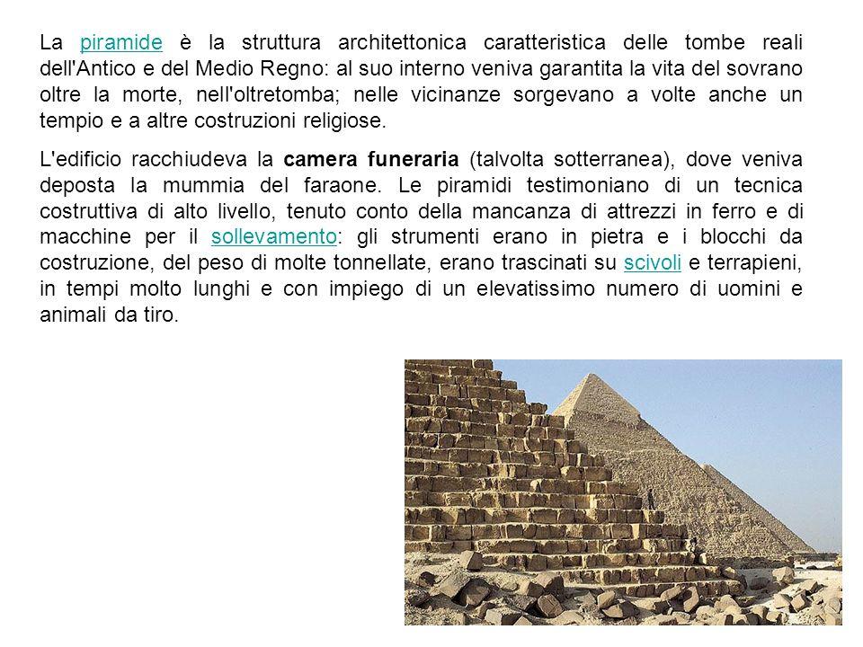 La piramide è la struttura architettonica caratteristica delle tombe reali dell'Antico e del Medio Regno: al suo interno veniva garantita la vita del