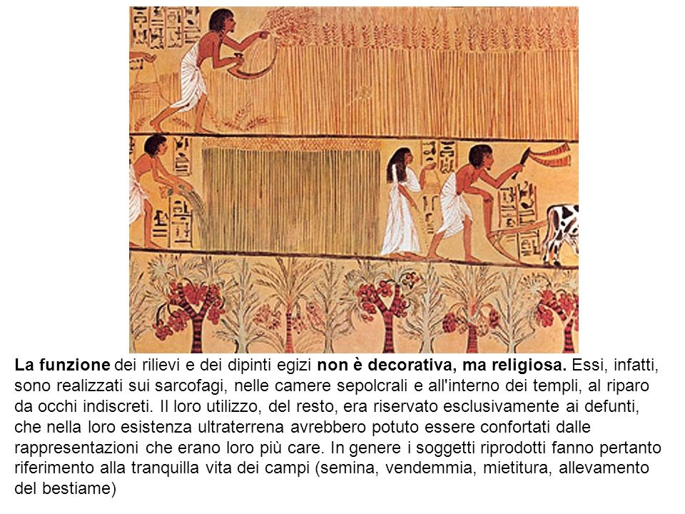 La funzione dei rilievi e dei dipinti egizi non è decorativa, ma religiosa. Essi, infatti, sono realizzati sui sarcofagi, nelle camere sepolcrali e al