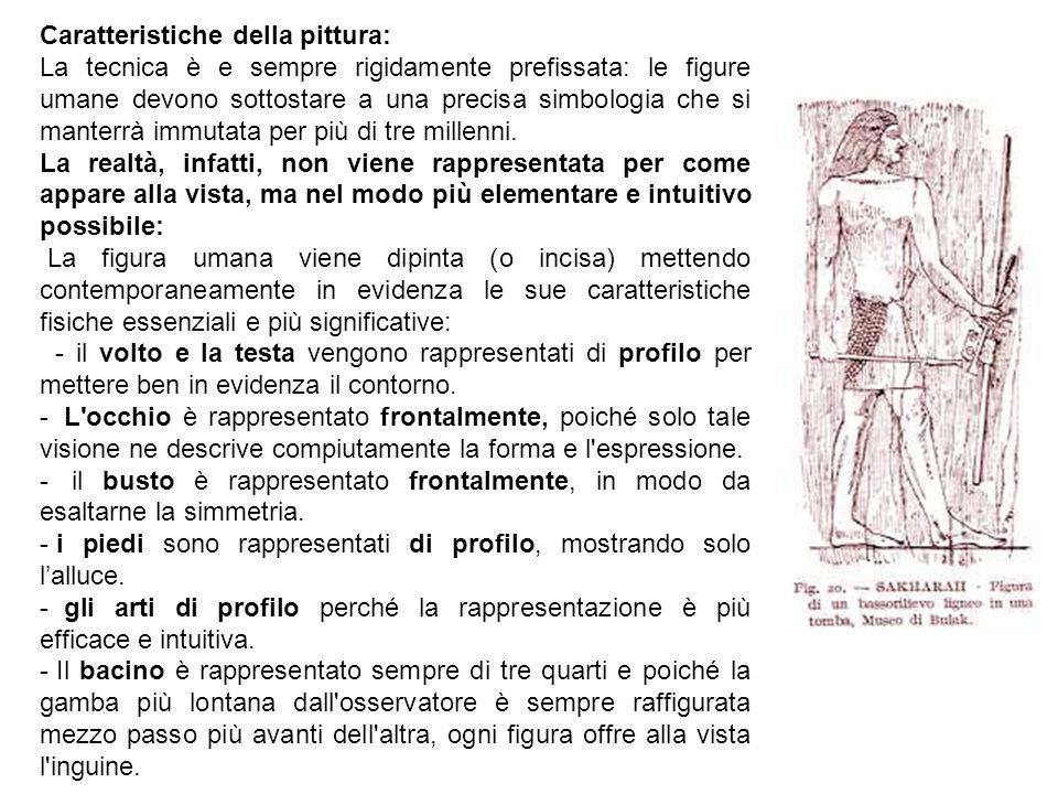 Caratteristiche della pittura: La tecnica è e sempre rigidamente prefissata: le figure umane devono sottostare a una precisa simbologia che si manterr