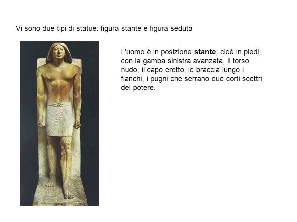 Vi sono due tipi di statue: figura stante e figura seduta L'uomo è in posizione stante, cioè in piedi, con la gamba sinistra avanzata, il torso nudo,