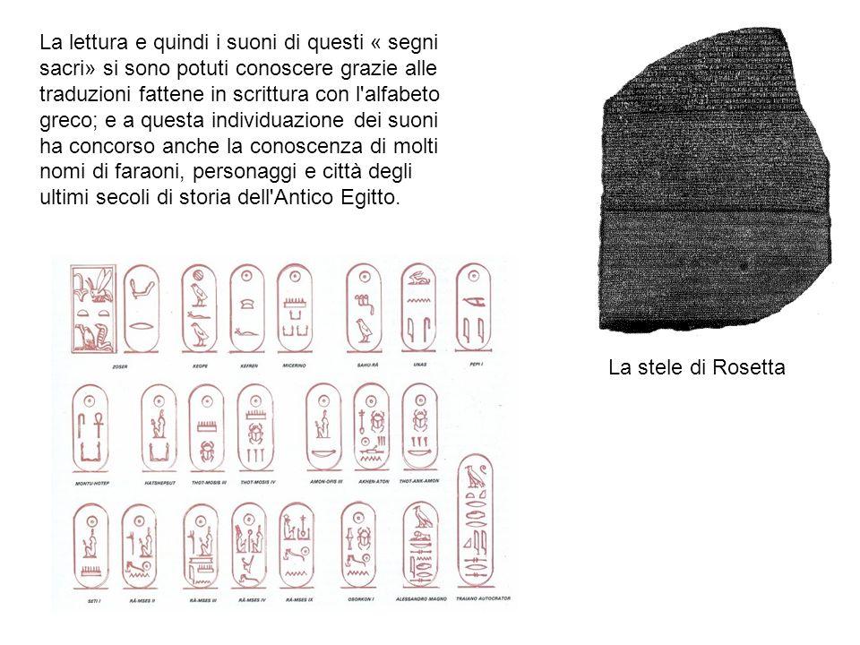 La lettura e quindi i suoni di questi « segni sacri» si sono potuti conoscere grazie alle traduzioni fattene in scrittura con l'alfabeto greco; e a qu
