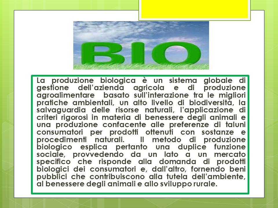 La produzione biologica è un sistema globale di gestione dell'azienda agricola e di produzione agroalimentare basato sull'interazione tra le migliori