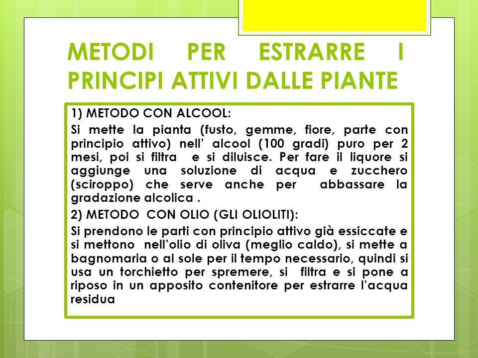 METODI PER ESTRARRE I PRINCIPI ATTIVI DALLE PIANTE 1) METODO CON ALCOOL: Si mette la pianta (fusto, gemme, fiore, parte con principio attivo) nell' al