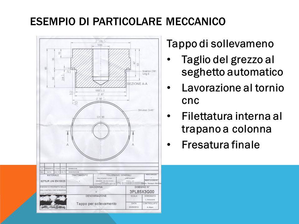 Tappo di sollevameno Taglio del grezzo al seghetto automatico Lavorazione al tornio cnc Filettatura interna al trapano a colonna Fresatura finale ESEM