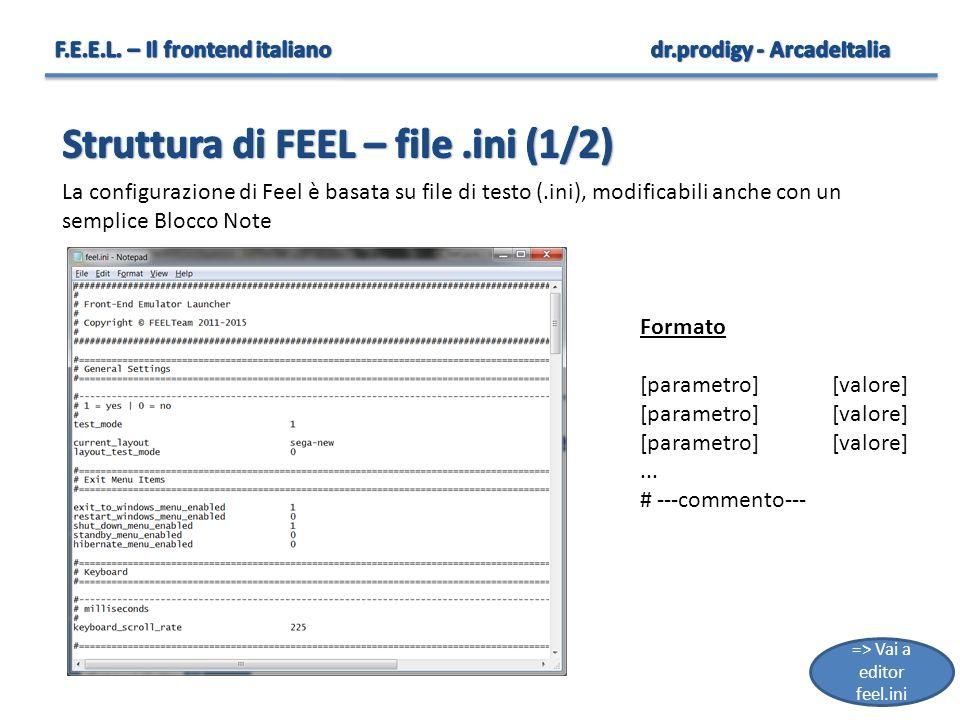 12 Formato [parametro][valore]... # ---commento--- La configurazione di Feel è basata su file di testo (.ini), modificabili anche con un semplice Bloc